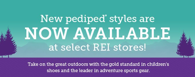 New pediped styles are now available at select REI stores! Take on the great outdoors with the gold standard in children's shoes and the leader in adventure sports gear.