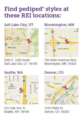 Find pediped styles at these REI locations:  Salt Lake City, UT 3285 E. 3300 South Salt Lake City, UT  84109  Bloomington, MN 750 West American Blvd. Bloomington, MN  55420  Seattle, WA 222 Yale Ave. N.  Seattle, WA  98109  Denver, CO 1416 Platte St.  Denver, CO  80202