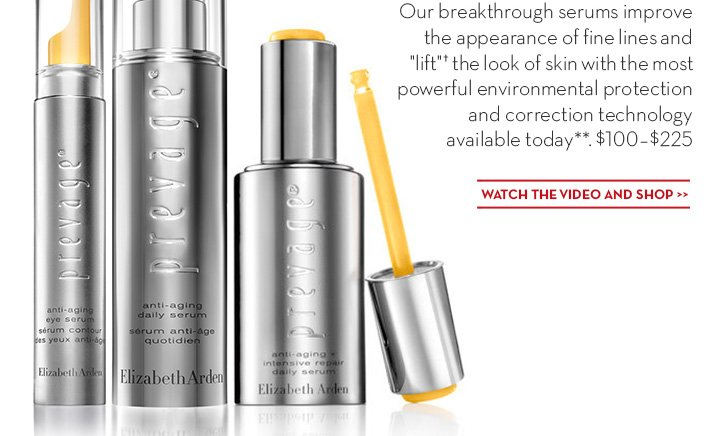 "Our breakthrough serums improve the appearance of fine lines and ""lift""† the look of skin with the most powerful environmental protection and correction technology available today**, $100.00 - $225. WATCH THE VIDEO AND SHOP."