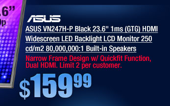 ASUS VN247H-P Black 23.6 inch 1ms (GTG) HDMI Widescreen LED Backlight LCD Monitor 250 cd/m2 80,000,000:1 Built-in Speakers