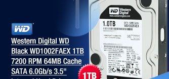 Western Digital WD Black WD1002FAEX 1TB 7200 RPM 64MB Cache SATA 6.0Gb/s 3.5 inch Internal Hard Drive