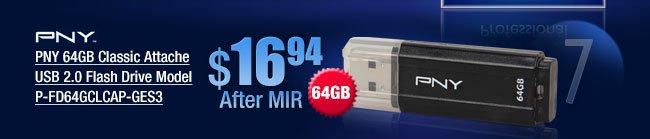 PNY 64GB Classic Attache USB 2.0 Flash Drive Model P-FD64GCLCAP-GES3