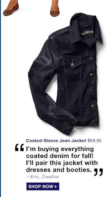 Coated-Sleeve Jean Jacket | SHOP NOW