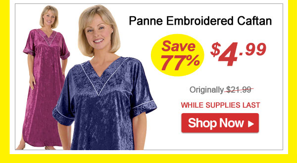 Panne Embroidered Caftan - Save 77% - Now Only $4.99 Limited Time Offer