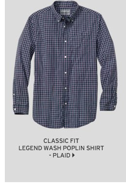Classic Fit Legend Wash Poplin Shirt - Plaid