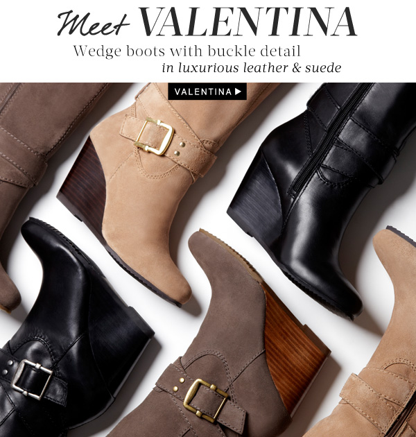 Meet Valentina - Wedge boots with buckle detail in luxurious leather and suede. Shop Valentina