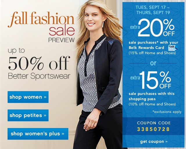 Fall Fashion Sale Preview. Up to 50% off Better Sportswear.