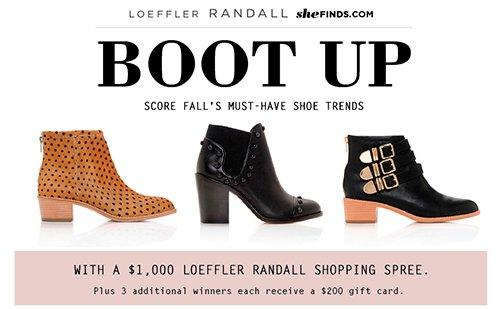 Enter to win a $1,000 shopping spree on the official Loeffler Randall store www.LoefflerRandall.com by LR and sheFINDS
