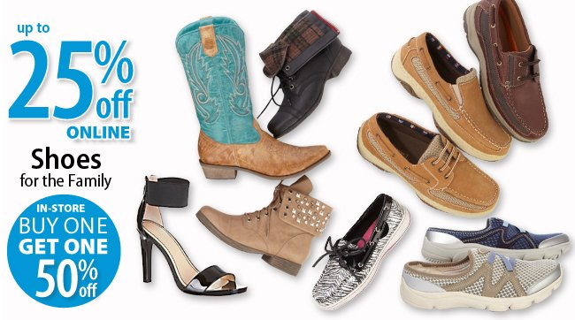 Up to 25% off Shoes online