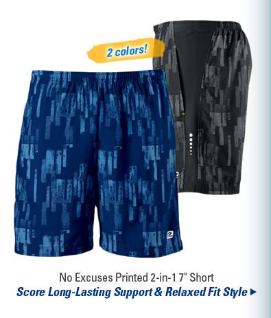 "No Excuses Printed 2-in-1 7"" Short"