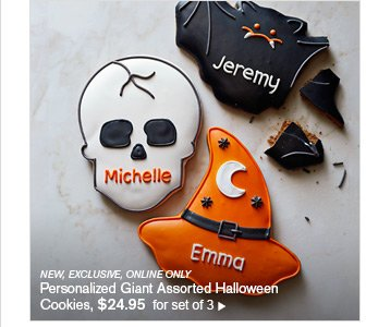 NEW, EXCLUSIVE, ONLINE ONLY - Personalized Giant Assorted Halloween Cookies, $24.95  for set of 3