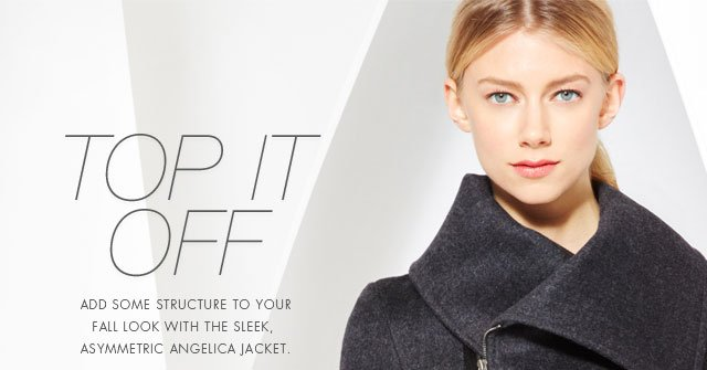 Top it Off: Add some structure to your fall look with the sleek, asymmetric Angelica Jacket.