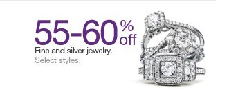 55-60% off Fine and silver jewelry. Select styles.