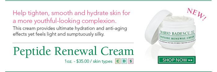 Help tighten, smooth and hydrate skin for a more youthful-looking complexion with our Peptide Renewal Cream. This cream provides ultimate hydration and anti-aging effects yet feels light and sumptuously silky.