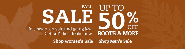 Fall Sale: Up to 50% OFF boots & more. In season, on sale and going fast. Get fall's best looks now.