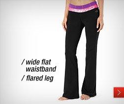 /wide flat waistband /flared leg