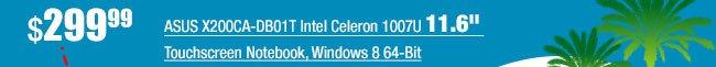 "ASUS X200CA-DB01T Intel Celeron 1007U 11.6"" Touchscreen Notebook, 2GB Memory, 320GB HDD, Windows 8 64-Bit"