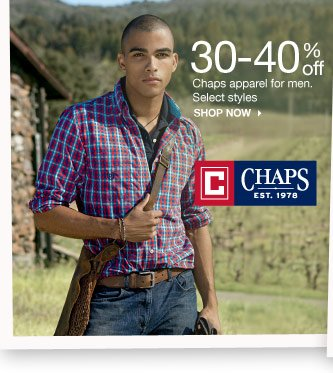 30-40% off Chaps apparel for men. Select styles shop now