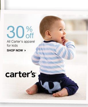 30% off All Carter's apparel for kids shop now