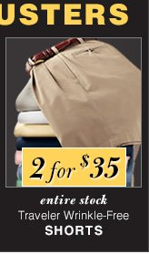 2 for $35 USD - Traveler Wrinkle-Free Shorts