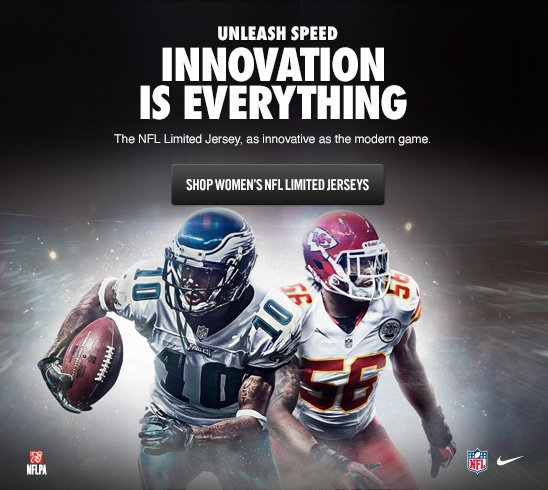UNLEASH SPEED   INNOVATION IS EVERYTHING   SHOP WOMEN'S NFL LIMITED JERSEYS