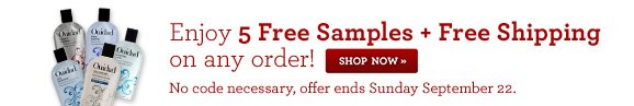 Enjoy 5 Free Samples + Free Shipping on any order!