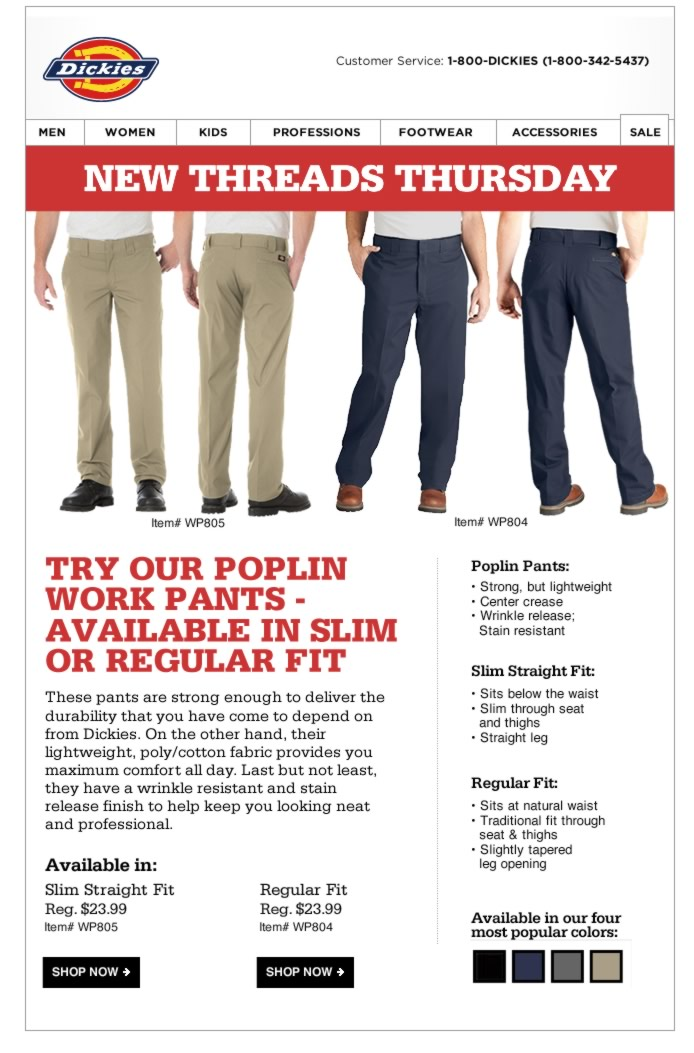 New Threads Thursday: Poplin Work Pants in Slim or Regular