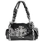 LANY Rhinestone Cross Black/White Zebra Shoulder Handbag