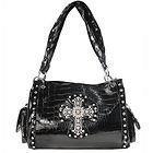 LANY Rhinestone Cross Black Zebra Shoulder Handbag
