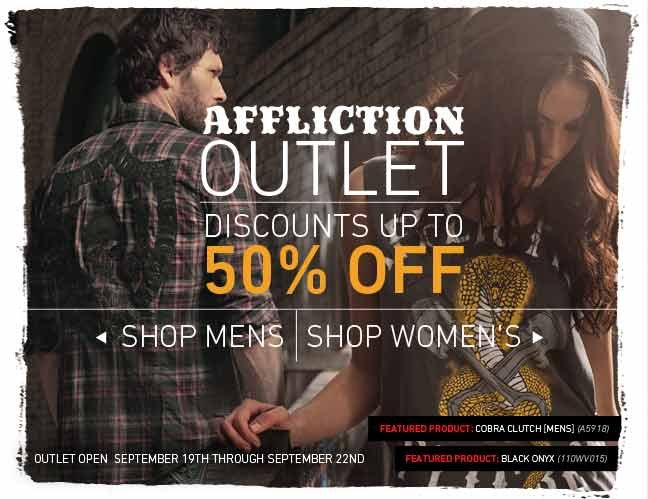 Affliction & Sinful Outlet Now Open - Discounts up to 50% Off
