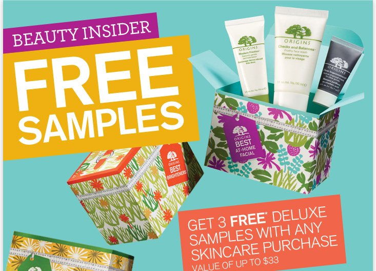 BEAUTY INSIDER FREE SAMPLES GET 3 FREE DELUXE SAMPLES WITH ANY SKINCARE PURCHSE VALUE OF UP TO 33 DOLLARS