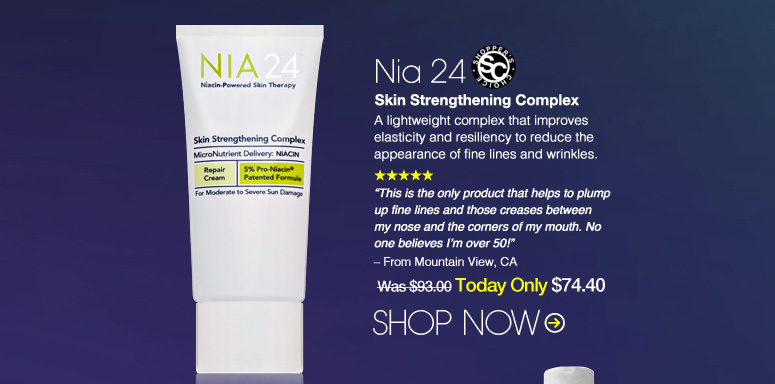 """Shopper's Choice. 5 Stars Nia 24 Skin Strengthening Complex A lightweight complex that improves elasticity and resiliency to reduce the appearance of fine lines and wrinkles.  """"This is the only product that helps to plump up fine lines and those creases between my nose and the corners of my mouth. No one believes I'm over 50!"""" – From Boston, MA Was $93.00 Now $74.40 Shop Now>>"""