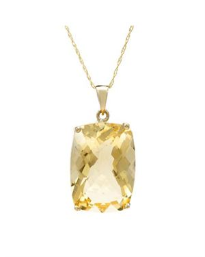 Yellow Gold Necklace with 12.71 CTW Citrine. Total item weight 3.6g