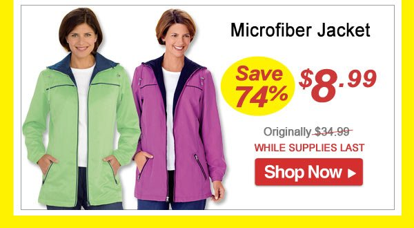 Microfiber Jacket - Save 74% - Now Only $8.99 Limited Time Offer