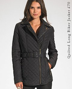 Quilted Long Biker Jacket