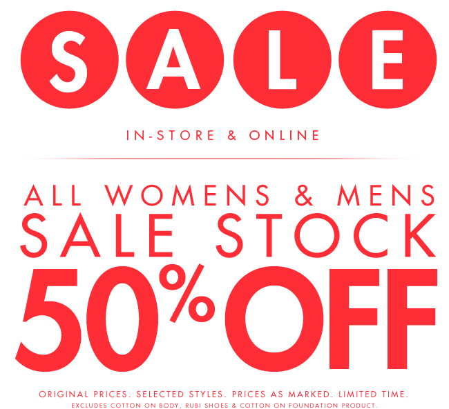 All Womens & Mens Sale Stock 50% Off