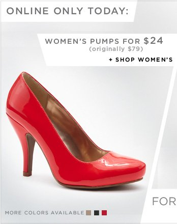 ONLINE ONLY TODAY: WOMEN'S PUMPS FOR $24 (originally $79) // Shop Women's