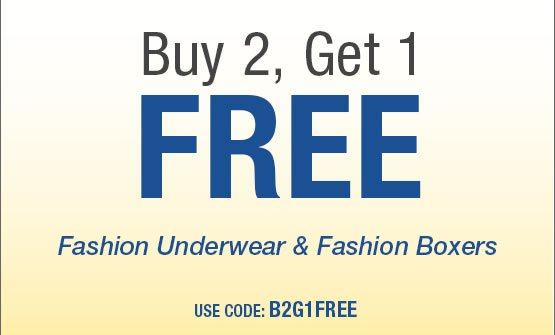 Buy 2, Get 1 FREE on Men's Fashion Boxers and Underwear Use code: B2G1FREE