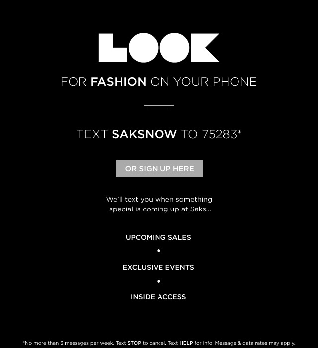 TEXT SAKSNOW TO 75283 or SIGN UP HERE