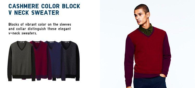 COLOR BLOCK V NECK