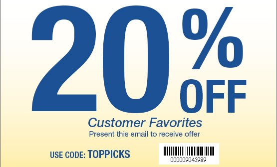 20% OFF Customer Favorites. Use Code: TOPPICKS