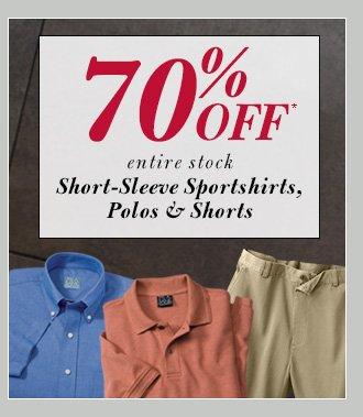 70% Off* Short-Sleeve Sportshirts, Polos & Shorts