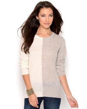 Lu Vic & Beau Long Sleeve Colorblock Cashmere Sweater