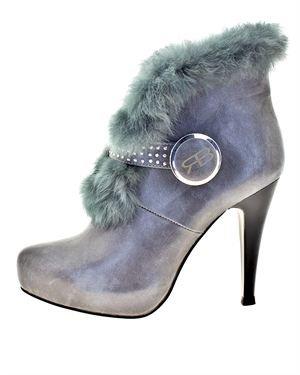 Roberto Botella Fur & Rhinestone Embellished Booties