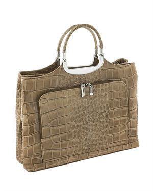 Classe Regina Crocodile Embossed Genuine Leather Tote Made In Italy