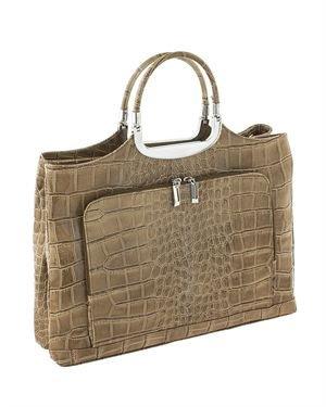 Classe Regina Crocodile Embossed Genuine Leather Tote Made In Italy