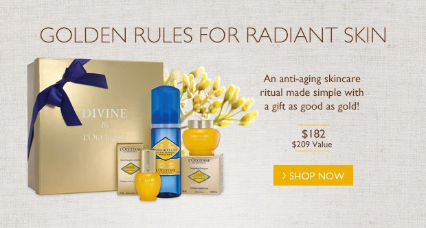 Golden Rule for Radiant Skin. An anti-aging skincare ritual made simple with a gift as good as gold!