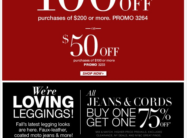 Save $100 in-store & online + BOGO on all jeans & cords! Shop Now!