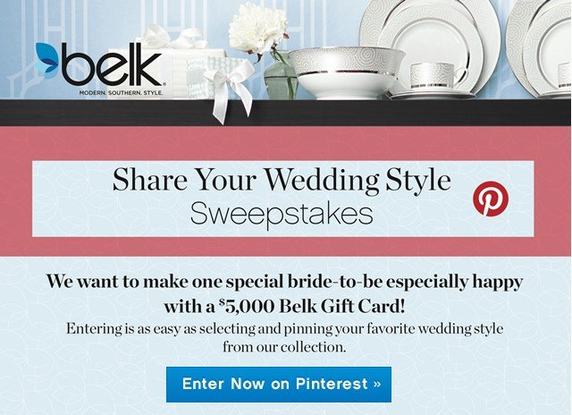 Share Your Wedding Style Sweepstakes. Enter Now on Pinterest.