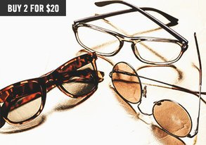 Shop 60+ Sunglasses: Get 2 for $20